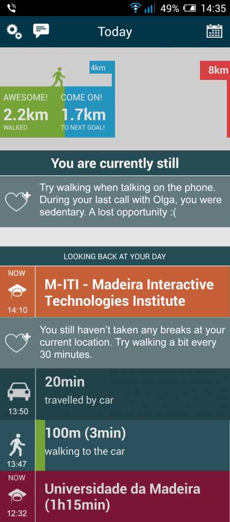 Figure 2. Habito uses constantly updating textual messages to sustain user engagement.